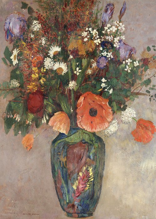 Still Life Greeting Card featuring the painting Bouquet Of Flowers In A Vase by Odilon Redon