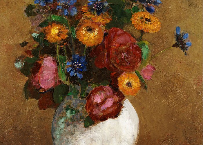 Still Life; Flower Greeting Card featuring the painting Bouquet Of Flowers In A White Vase by Odilon Redon