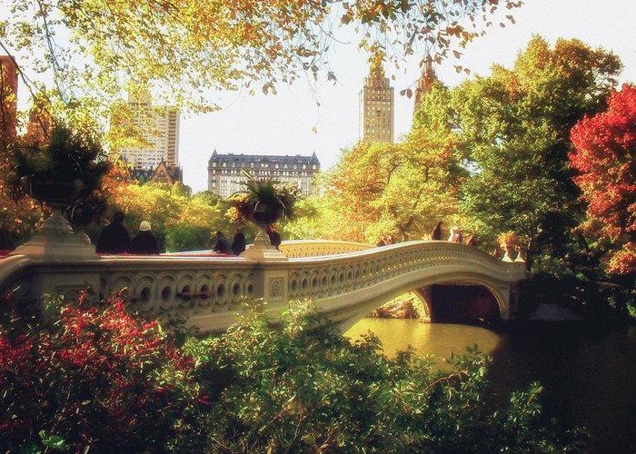 Bow Bridge Greeting Card featuring the photograph Bow Bridge - Autumn - Central Park by Vivienne Gucwa