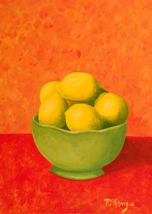 Still Life Greeting Card featuring the painting Bowl Of Lemons by Robb McKenzie