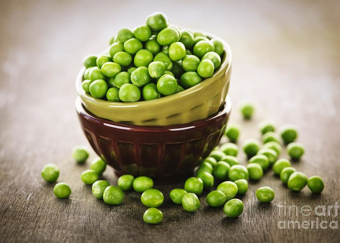 Peas Greeting Card featuring the photograph Bowl Of Peas by Elena Elisseeva