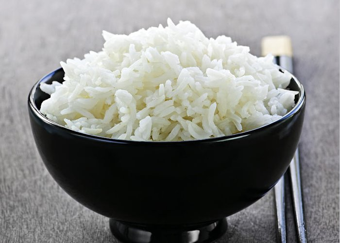 Rice Greeting Card featuring the photograph Bowl Of Rice With Chopsticks by Elena Elisseeva