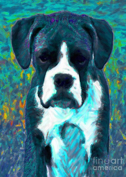 Animal Greeting Card featuring the photograph Boxer 20130126v4 by Wingsdomain Art and Photography