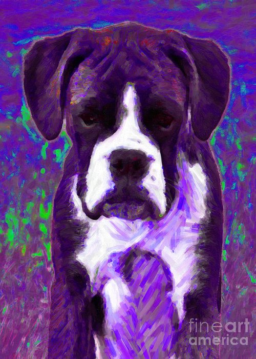 Animal Greeting Card featuring the photograph Boxer 20130126v6 by Wingsdomain Art and Photography