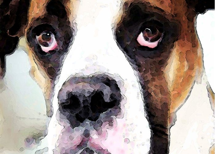 Boxer Greeting Card featuring the painting Boxer Art - Sad Eyes by Sharon Cummings