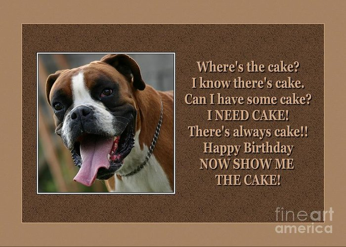 Jh Greeting Card featuring the digital art Boxer Birthday by JH Designs