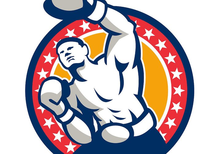Boxer Greeting Card featuring the digital art Boxer Boxing Punching Jabbing Retro by Aloysius Patrimonio