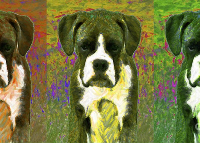 Animal Greeting Card featuring the photograph Boxer Three 20130126 by Wingsdomain Art and Photography