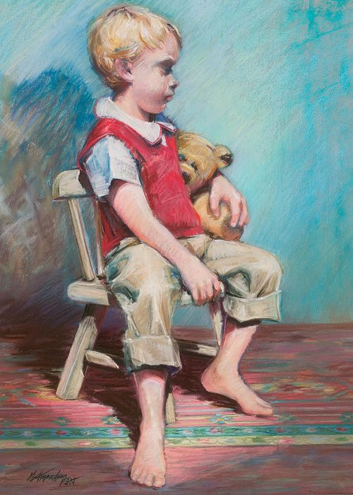 Child Greeting Card featuring the pastel Boy In Chair by Beverly Amundson