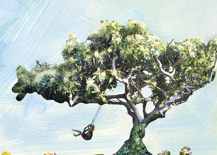 Swing On A Tree Greeting Card featuring the photograph Boy On A Swing by Linde Townsend