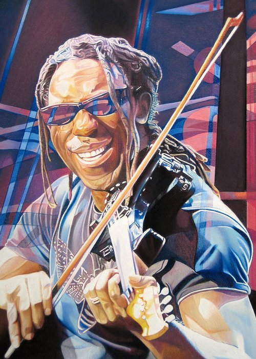 Boyd Tinsley Greeting Card featuring the drawing Boyd Tinsley And 2007 Lights by Joshua Morton