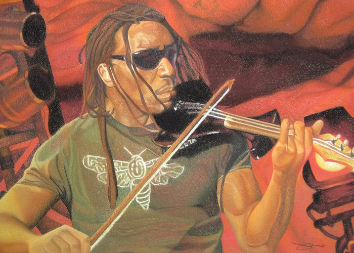 Boyd Tinsley Greeting Card featuring the drawing Boyd Tinsley At Red Rocks by Joshua Morton