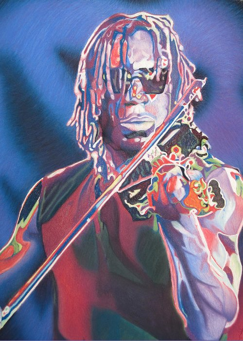 Boyd Tinsley Greeting Card featuring the drawing Boyd Tinsley Colorful Full Band Series by Joshua Morton