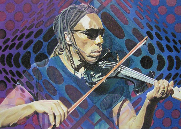 Boyd Tinsley Greeting Card featuring the drawing Boyd Tinsley Pop-op Series by Joshua Morton