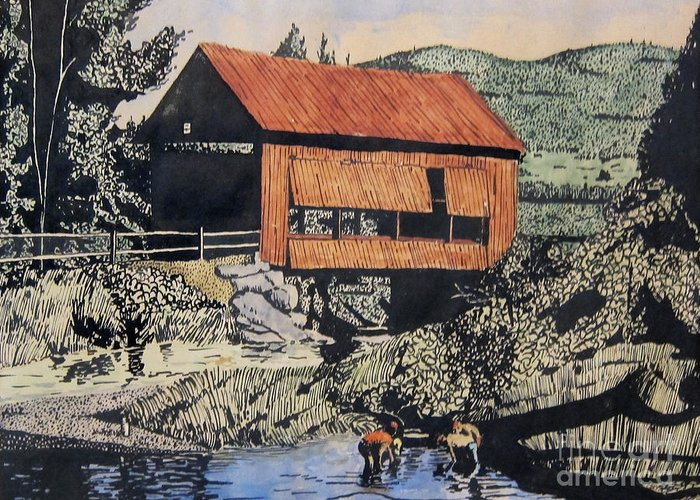 T-shirt Greeting Card featuring the mixed media Boys And Covered Bridge by Joseph Juvenal