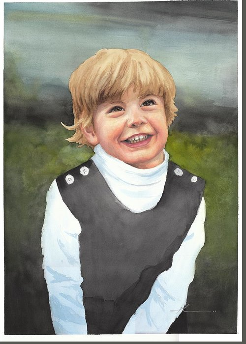 <a Href=http://miketheuer.com Target =_blank>www.miketheuer.com</a> Boys First Portrait Watercolor Painting Greeting Card featuring the drawing Boys First Portrait Watercolor Painting by Mike Theuer