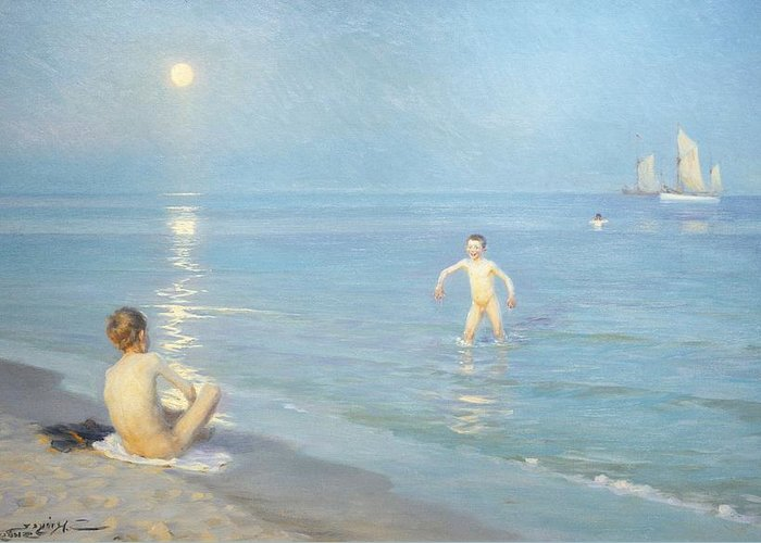 Painting; 19th Century Painting; Seasons; Europe; Denmark; Kroyer Peter Severin; Bather; Summer; Impressionism Greeting Card featuring the painting Boys On The Seashore In A Summer Night At Skagen 1899 by Peder Severin Kroyer