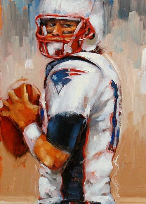 Tom Brady Greeting Card featuring the painting Brady Boy by Laura Lee Zanghetti