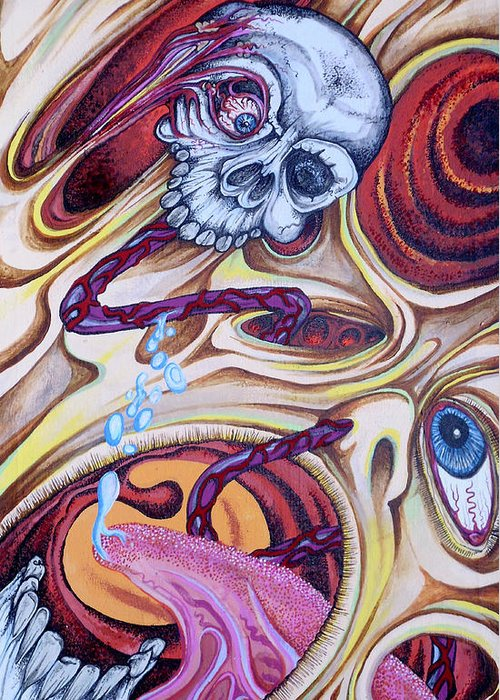 Psychedelic Greeting Card featuring the painting Brainlicker by Sam Hane