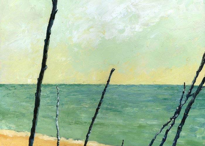 Beach Greeting Card featuring the painting Branches On The Beach - Oil by Michelle Calkins