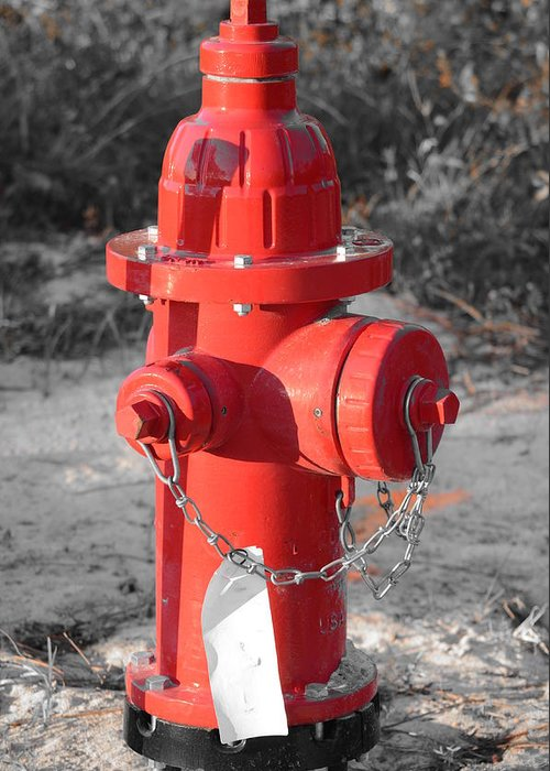 Technical Greeting Card featuring the photograph Brand New Red Hydrant On Bw by Jeff at JSJ Photography