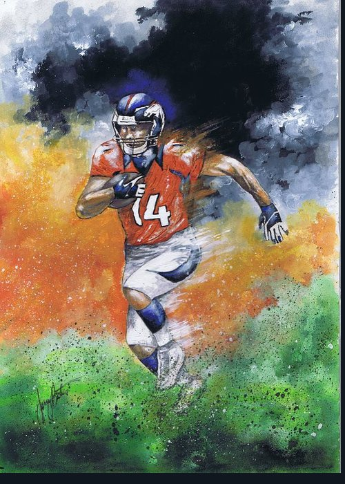 Football Greeting Card featuring the painting Brandon Stokley by Jerry Bates