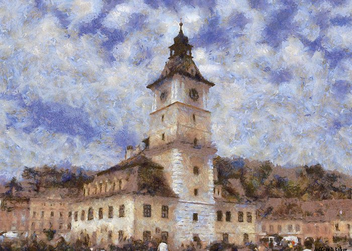Architecture Greeting Card featuring the painting Brasov City Hall by Jeff Kolker