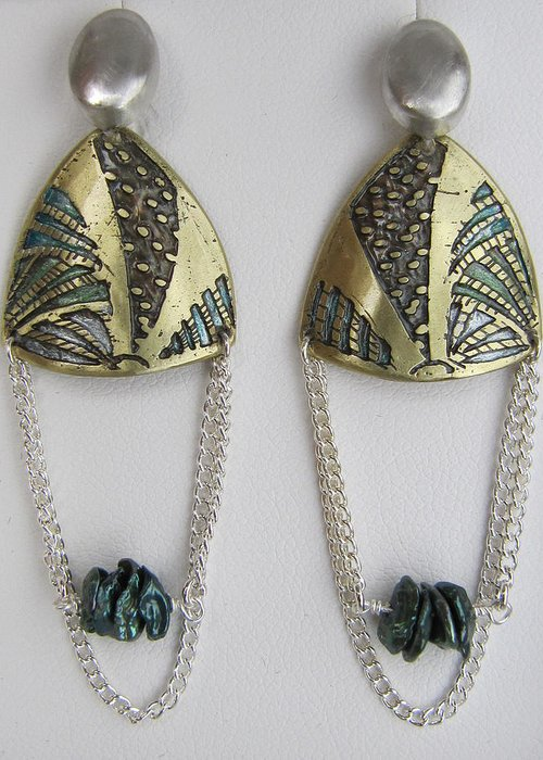 One Of A Kind Earrings Greeting Card featuring the jewelry Brass Etching Green Teal Earrings by Brenda Berdnik