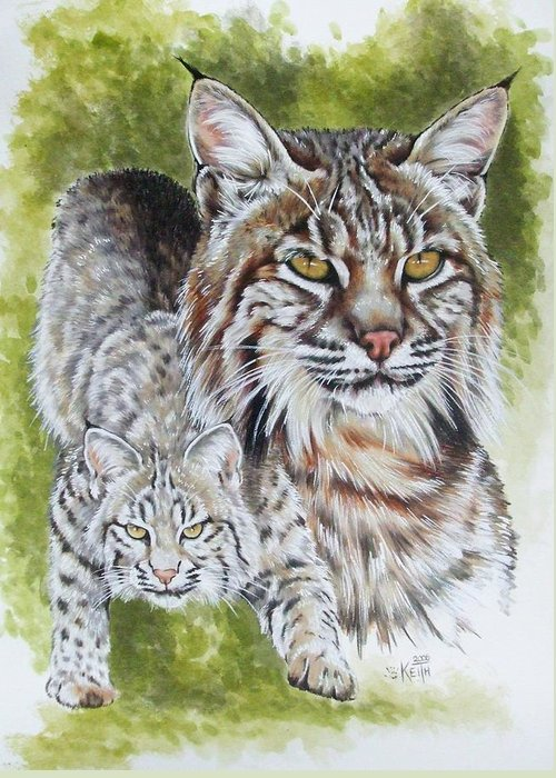 Small Cat Greeting Card featuring the mixed media Brassy by Barbara Keith