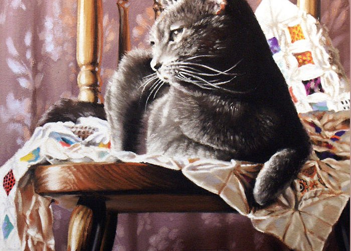 Cat Greeting Card featuring the painting Brat Cat by Dianna Ponting
