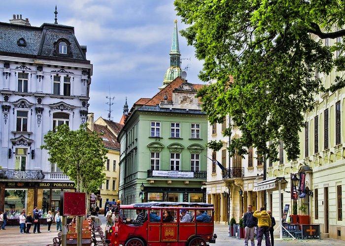 Bratislava Slovakia Greeting Card featuring the photograph Bratislava Town Square by Jon Berghoff