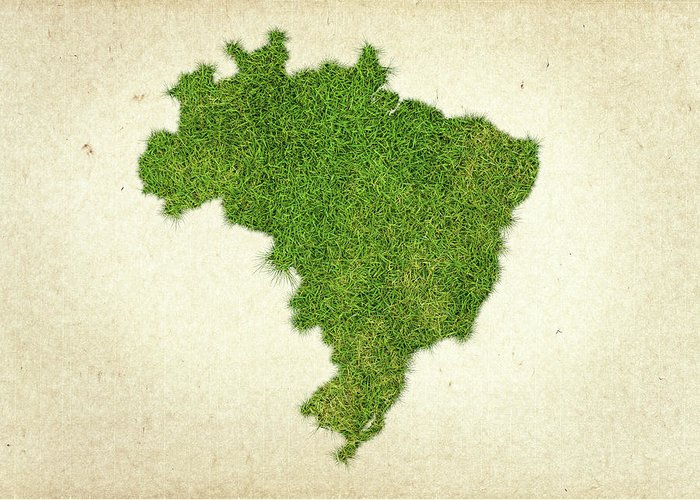 Map Of Brazil Greeting Card featuring the photograph Brazil Grass Map by Aged Pixel