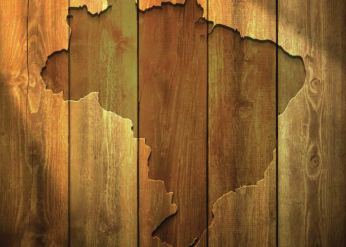 Material Greeting Card featuring the digital art Brazil Map On Lit Wooden Background by Bgblue