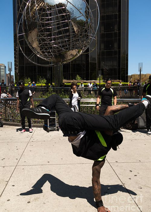Break Dance Greeting Card featuring the photograph Break Dancer Columbus Circle by Amy Cicconi