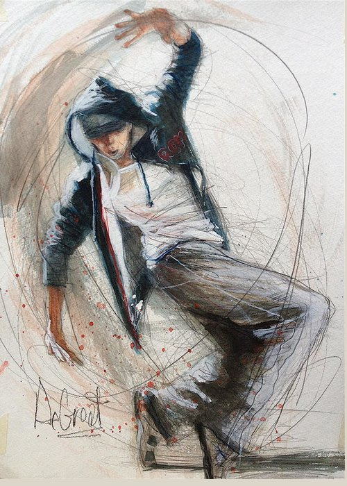 Dancer Greeting Card featuring the painting Break Dancer1 by Gregory DeGroat