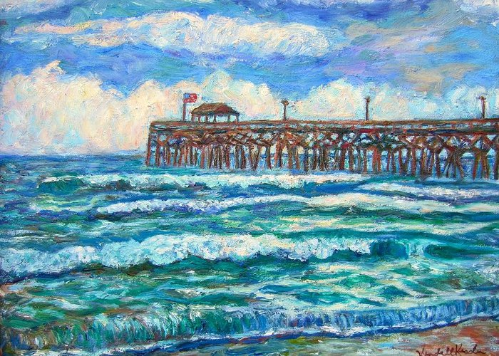 Shore Scenes Greeting Card featuring the painting Breakers At Pawleys Island by Kendall Kessler