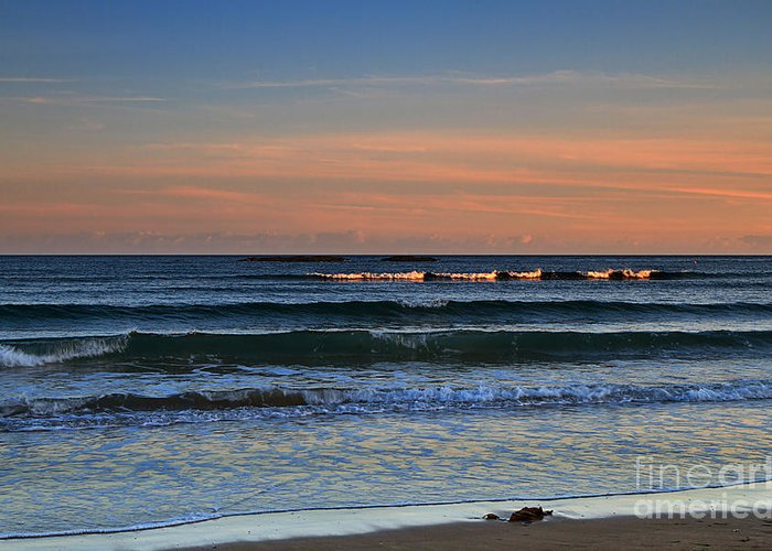 Sunset Greeting Card featuring the photograph Breakers At Sunset by Louise Heusinkveld