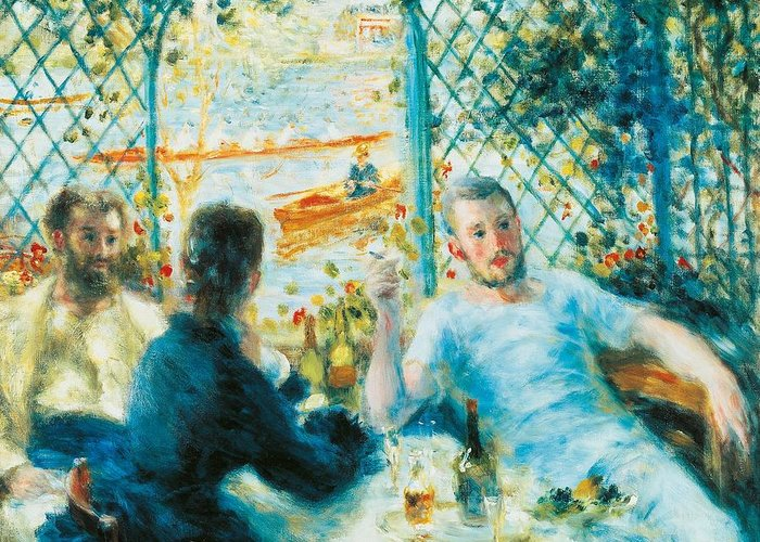 Art Greeting Card featuring the painting Breakfast By The River by Pierre-Auguste Renoir