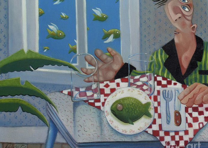 Barbados Greeting Card featuring the painting Breakfast In Barbados 1989 by Larry Preston