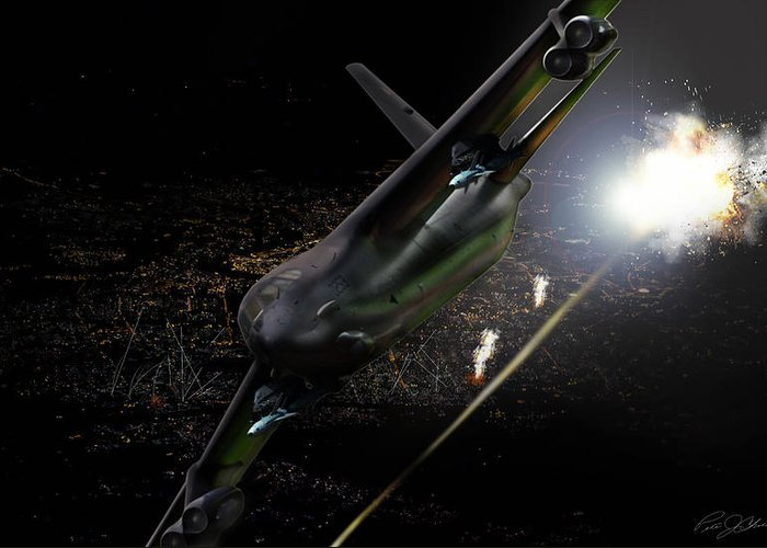 Aviation Greeting Card featuring the digital art Breaking Baghdad by Peter Chilelli