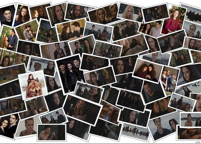 Breaking Dawn Part 1 Greeting Card featuring the digital art Breaking Dawn Part 2 Pile Of Pics by Lizzie B