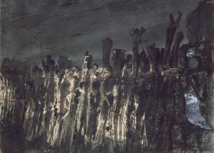 Wooden Posts Greeting Card featuring the painting Breakwater In Jersey by Victor Hugo