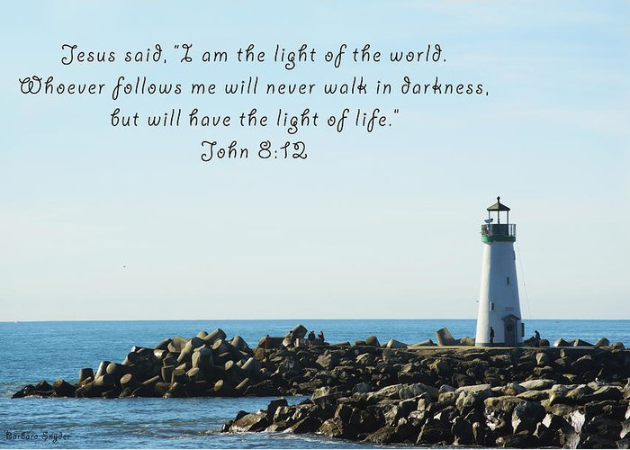 Barbara Snyder Greeting Card featuring the digital art Breakwater Lighthouse Santa Cruz With Verse by Barbara Snyder