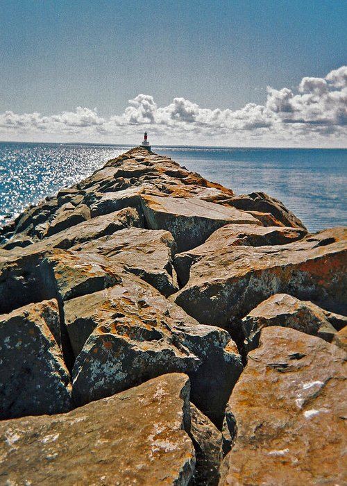 Michigan Greeting Card featuring the photograph Breakwater by Penny Parrish
