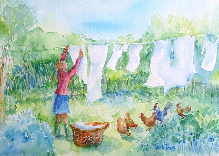 White Linen Greeting Card featuring the painting Breezy Day -great Drying Out by Trudi Doyle