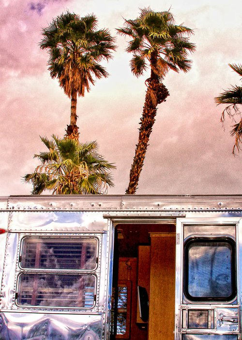 Airstream Greeting Card featuring the photograph Breezy Palm Springs by William Dey