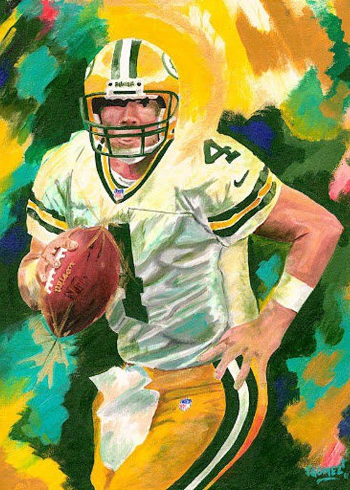 Bret Favre Painting Greeting Card featuring the painting Bret Favre by Jeff Gomez