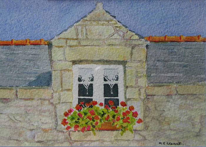 France Greeting Card featuring the painting Bretagne Window by Mary Ellen Mueller Legault