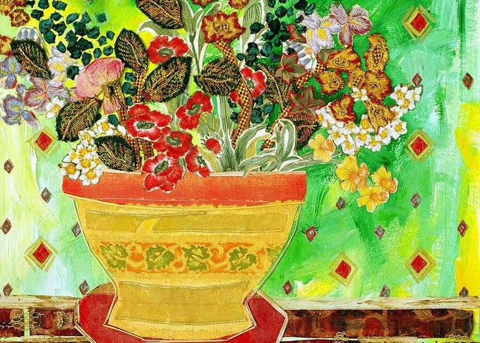 Flowers In A Vase Greeting Card featuring the mixed media Bric A Brac by Diane Fine