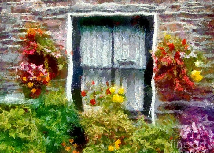 Window Greeting Card featuring the painting Brick And Blooms by RC DeWinter